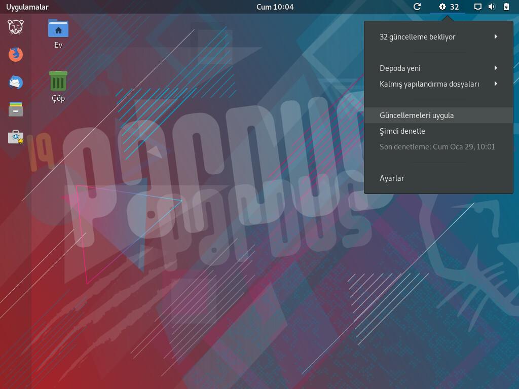 Pardus GNOME Paket Güncelleyici bildirimi ekran görüntüsü