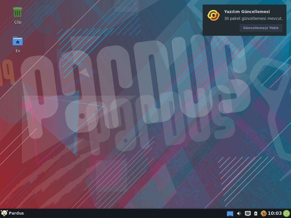 Pardus Xfce Paket Güncelleyici bildirim ekran görüntüsü