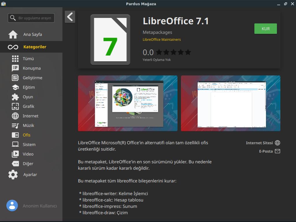LibreOffice 7.1 Pardus Mağaza